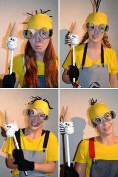 selbstgemachte lustige kostüme minions hut pfeifenreiniger halloween karneval