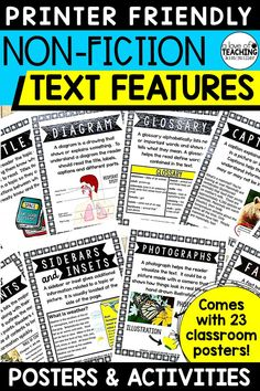 Non Fiction Text Features Posters for the Classroom and Activities for Students - Give your students visual reminders of non-fiction text features with these 23 classroom posters! Each poster comes with a title of the text feature, description, and illustration. This resource also includes a 23-page student booklet.