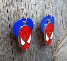 SpiderMan Charm Guitar Pick Earrings