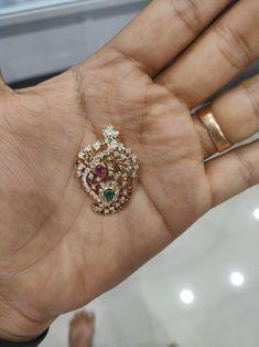 Peacock and Mango Diamond Pendent Pendant Jewelry, Beaded Jewelry, Emerald Jewelry, Gold Jewelry, Gold Necklace, Gold Pendent, Diamond Pendant, Gold Jewellery Design, Simple Jewelry