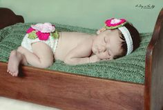 Fancy Flower Diaper Cover and Headband Set.