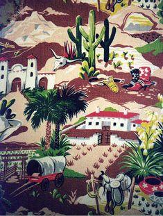 Vintage 1950's southwestern barkcloth