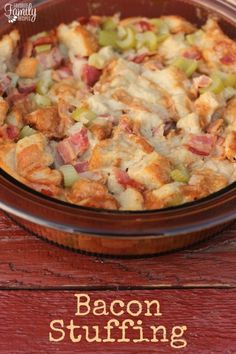 You HAVE to put this Bacon Stuffing on your Thanksgiving menu this year! It is UNBELIEVABLY good. Forget about the stuff you buy in the box!