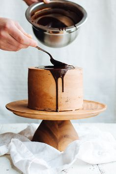 DARK CHOCOLATE, PASSION FRUIT, AND HAZELNUT LAYER CAKE