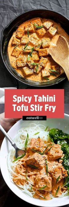 This tofu stir fry recipe is ideal for a quick vegetarian or vegan meal for two. Tofu cubes are stir fried in sesame oil to golden crisp, and then drenched in a creamy tahini-sriracha sauce for a s…