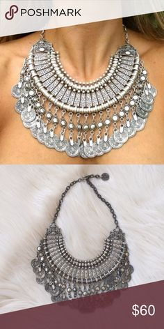 Free People Turkish Coin Silver Necklace Beautiful Free People Turkish Coin Silver Necklace, sold out everywhere, vintage FP  Bought new and worn a few times, in excellent condition  Great standout piece, boho elegant, can be used for layering with other necklaces Free People Jewelry Necklaces