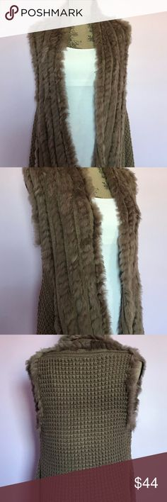 Freeway Apparel Faux Fur Trim Long Knit Vest NWT! Freeway Apparel NEW WITH TAGS Brown Faux Fur Trim Long Knit Sweater Vest Women's Size S   Brand: Freeway Apparel  Color: Brown  Condition: New With Tags. There is some discoloration in the fur by the back of the neck which is shown in the pictures.   Product Details: Super cute faux fur knit open front sweat vest. Also has an attachable belt to wear around it.  Size Type: Regular Size (Women's): Small Material / Care : 100% Acrylic / Hand…