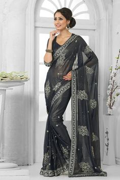Grey Georgette Saree with Georgette Blouse Price:-£45.00 Grey georgette saree with grey georgette blouse.  Embellished with embroidered, resham, zari and stone.  Saree comes with v neck blouse.  It is perfect for casual wear, festival wear and party wear.   http://www.andaazfashion.co.uk/grey-georgette-saree-with-georgette-blouse-dmv8147.html