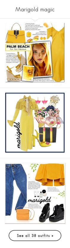 """Marigold magic"" by zouus ❤ liked on Polyvore featuring Topshop, cutekawaii, Gucci, Kastur Jewels, It's skin, Chloé, Miu Miu, Le Silla, Aurélie Bidermann and Temple St. Clair"