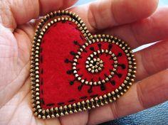 Red felt and zipper heart brooch