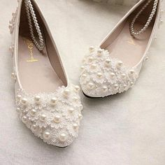 f7a6b603e6d6 The new White lace Wedding shoes pearls ankle trap Bridal flats low high  heels