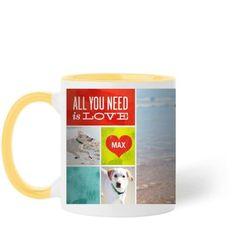 Love and a Dog Mug, Yellow, 11 oz