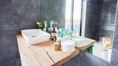 The Block - Bathroom Reveal The Block Bathroom, Bathroom Bench, Bathroom Inspo, Bathroom Colors, Bathroom Inspiration, Bathroom Ideas, Washroom, Grey Bathrooms, Small Bathroom