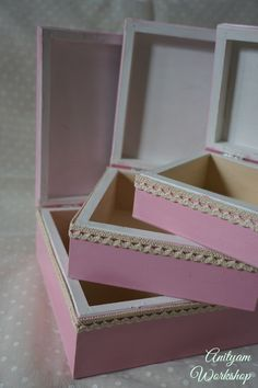 Cute Set of 3 wooden decorative treasure boxes by AnityamWorkshop