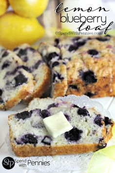 Lemon Blueberry Loaf!  A moist light lemon loaf filled with blueberries!  A perfect snack or lunchbox addition!