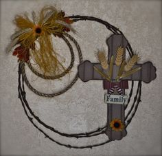 "20"" Family Fall Barb Wire Wreath"