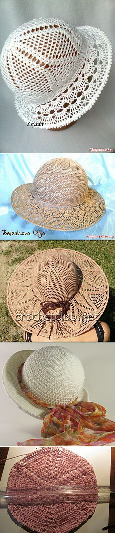 Sovmestnik on summer hats. \/ Knitting by a hook \/ Knitting Adventure // Ольга Ольга Bonnet Crochet, Crochet Cap, Crochet Shoes, Love Crochet, Crochet Clothes, Crochet Stitches, Crochet Patterns, Sombrero A Crochet, Crochet Summer Hats