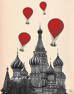 Hot Air Balloon Red St Basils Cathedral Print By Kelly Mclaughlan