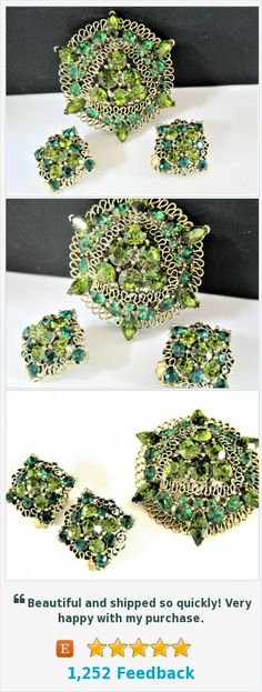 Green Peridot Rhinestone Jewelry Set, Gold Scrollwork, Green Peridot Stones, Dome Shaped, Elegant Set https://www.etsy.com/VintagObsessions/listing/566388565/green-peridot-rhinestone-jewelry-set?ref=shop_home_active_4