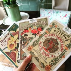 Vintage design style flower seed packets as greeting cards.