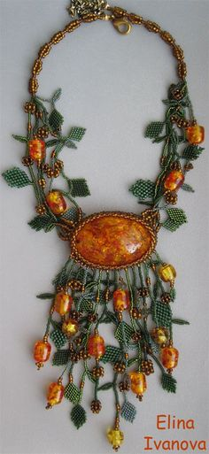 "Кулон ""Янтарный лес"" | biser.info - всё о бисере и бисерном творчестве"