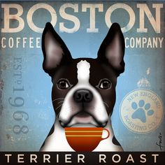 Boston Terrier Coffee Company original graphic illustration on canvas by stephen fowler