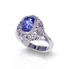 If youlove with sapphires, you will be impressed by the soft radiant tones of this light blue sapphire ring, created by the artisans at Jewelry Designs. Light Blue Sapphire, Pink Sapphire Ring, Sapphire Jewelry, Sapphire Gemstone, Gemstone Rings, Champagne Diamond Rings, Yellow Diamond Rings, Fashion Rings, White Gold