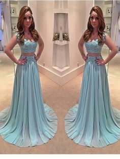 Long Prom dress, Blue prom dress, Two Pieces Prom Dress, Cap Sleeve Prom Dress,Prom Dresses For Teens. PD2100508