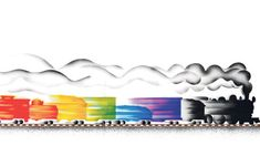 Moving colour … an illustration from Freight Train by Donald Crews #Books #Kids #Donald_Crews