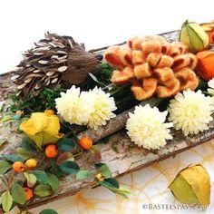 schöne Herbst Bastelidee - Herbstschale als Tischdeko mit Igel zum selber machen - gefunden bei Bastelspass24.de