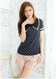 Dark Blue and White Polka Dot Korean Spring Style Short Sleeves Asian Stylish Blouse 1