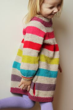 Knitted oversized stripy and colourful sweater for the kids -love this! #handmade #wool #knit