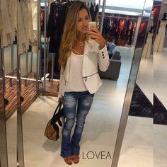 #ShareIG Blaser branco lindo para o look comfy de hoje ✨ #Lovea #lookdehoje