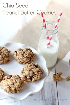 making these NOW! ----pinner says: Chia Seed Peanut Butter Cookies:  I made these today for an after school snack for the kids.  Quite tasty and I substituted coconut oil for the butter, millet flour for the white flour, and maple syrup for the sugar to make them even better for you.