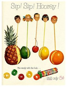 Orange Life Savers Vintage Halloween Candy Ads Lemon PEZ Necco Wafers Cryst-O-Mint Life Savers Chiclets Maltesers Reese's Peanut Butter Cups Mr. Retro Candy, Vintage Candy, Retro Vintage, Vintage Food, 1950s Candy, Vintage Sweets, Vintage Kids, Vintage Paper, Old Advertisements