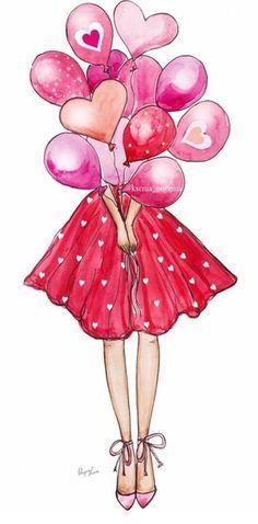 Birthday girl drawing illustrations 52 Ideas for 2020 Girly Drawings, Art Drawings Sketches, Digital Art Girl, Birthday Balloons, Cartoon Art, Cute Wallpapers, Girl Birthday, Watercolor Art, Illustration Art