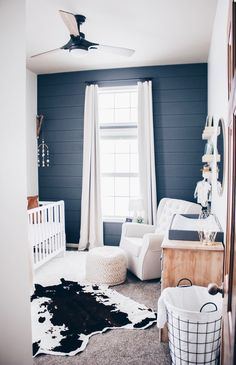 Baby boy nursery with modern farm house vibes. Gray accent wall really make the white crib and rocker stand out. Baby boy nursery with modern farm house vibes. Gray accent wall really make the white crib and rocker stand out. Baby Boy Rooms, Baby Bedroom, Baby Boy Nurseries, Nursery Room, Kids Bedroom, Accent Wall Nursery, Accent Walls, Baby Room Boys, Baby Cribs