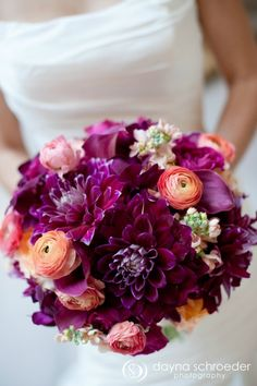 Purple Dahlia, Peach Ranunculus Bouquet