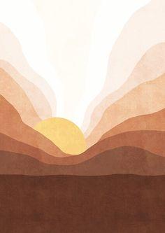 Sunrise mountain landscape by Miss-Belle Painting Inspiration, Art Inspo, Dorm Art, Mountain Landscape, Minimalist Art, Aesthetic Art, Illustration Art, Illustrations, Photo Art