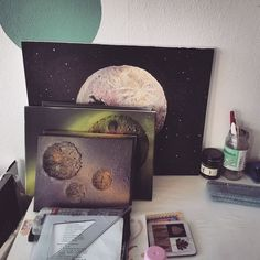 So many #painting #wips   I'm loving my space series- I'll have a lot more time to spend on my #art now my work experience is over!!