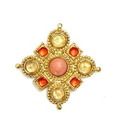Excited to share the latest addition to my #etsy shop: EDOUARD RAMBAUD Paris Coral & Gold Maltese Cross, Etruscan Revival Style, Golden Crackle Glass Cabs, Vintage Gift for Her, Designer Signed