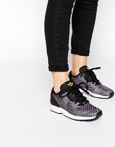 Adidas Black ZX Flux Animal Print Trainers // for those of you who have a wider foot or need a deeper shoe vs Nike