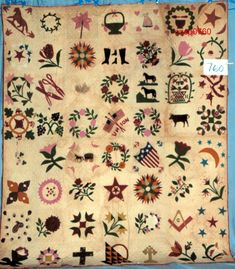 Sampler quilt, Connecticut, inscribed date: 1867; backing fabric print is solid, quilt back is hand pieced, made by Ladies Benevolent Society of the 2nd Baptist Church, Connecticut? hand pieced and appliqued