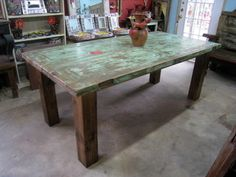 Perfect GREEN Dining Table Made From Mesquite Doors Imported Mexico Rustic With Spice Of