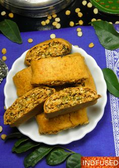 Bakarawadi can be labeled as the most addictive snack food of Maharashtra, India! It is a stuffed, savory roll that is deep fried. Here is my baked version that is sure to satisfy your craving for … Diwali Snacks, Diwali Food, Diwali Recipes, Indian Snacks, Indian Food Recipes, Indian Sweets, Indian Appetizers, Indian Foods, Indian Dishes