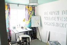 letters painted the same as the wall ---Reader Redesign: Positively Sweet Studio | Young House Love