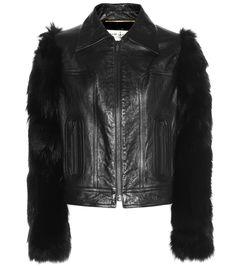 Saint Laurent - Lederjacke mit Fellärmeln - Die Jacke aus der Runway-Kollektion…
