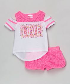 Loving this Juicylicious Pink Lace 'Love' Tee & Shorts - Girls on Girls Fashion Clothes, Kids Outfits Girls, Girl Outfits, Short Niña, Short Girls, American Girl Doll Gymnastics, Fashion Niños, Romper Pattern, Only Play