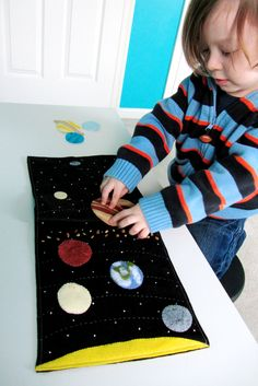 Solar System Quiet Book Page - Could use velcro or snaps too!