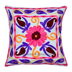 "16"" White Suzani Embroidered Pillow Square Throw Pillow Cover on RoyalFurnish.com, $17.99"